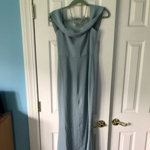 Lovers & Friends NWT pale blue prom dress w/ slit